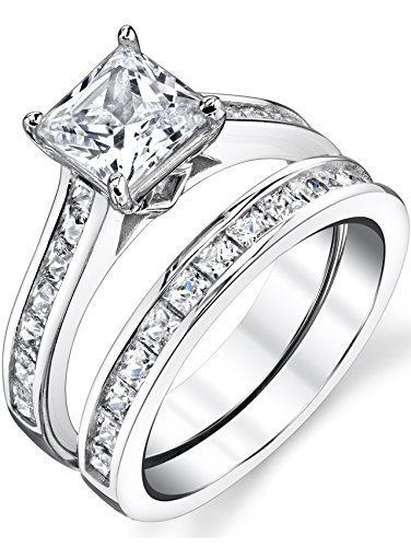 (Sterling Silver Princess Cut Bridal Set Engagement Wedding Ring Bands With Cubic Zirconia Size 7.5)