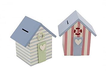 Alcancía diseño cabaña de playa de calidad, alcancía cabaña de playa, diseño náutico (x1), azul o rosa: Amazon.es: Jardín
