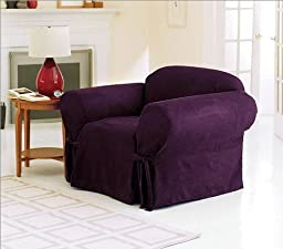 Green Living Group Chezmoi Collection Soft Micro Suede Solid Armchair/Arm-Chair Cover Slipcover with Elastic Band Under Seat Cushion, Purple