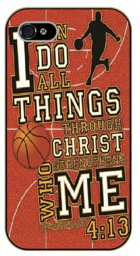 iPhone 5C Bible Verse - Basketball theme. I can do all things thru Christ. Philippians 4:13 - black plastic case / Verses, Inspirational and Motivational, sports