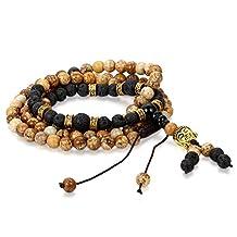 Flongo Men's Womens Earth Stone Buddhist Mala Prayer Buddha Bead Wrap Bracelet, 29.3 inch Length