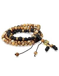 Flongo Men's Women's 8mm Sandal Wood Bead Tibetan Buddhist Prayer Mala Bracelet, 36 inch Length