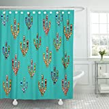 Emvency Shower Curtain Abstract Colorful Mosaic Cactus Digital on Cyan Mexican Southwestern American Style for Party Waterproof Polyester Fabric 72 x 72 Inches Set with Hooks