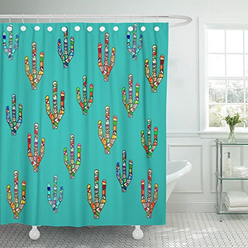 Emvency Shower Curtain Abstract Colorful Mosaic Cactus Digital on Cyan Mexican Southwestern American Style for Party Waterproof Polyester Fabric 72 x 72 Inches Set with Hooks by Emvency