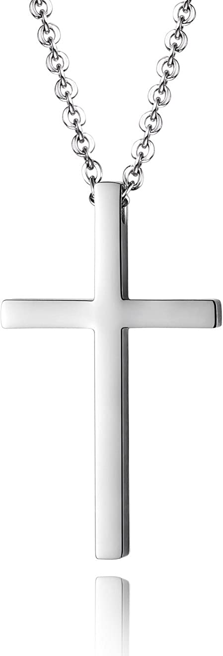 Reve Simple Stainless Steel Silver Tone Cross Pendant Chain Necklace for Men Women, 20-22 Inches