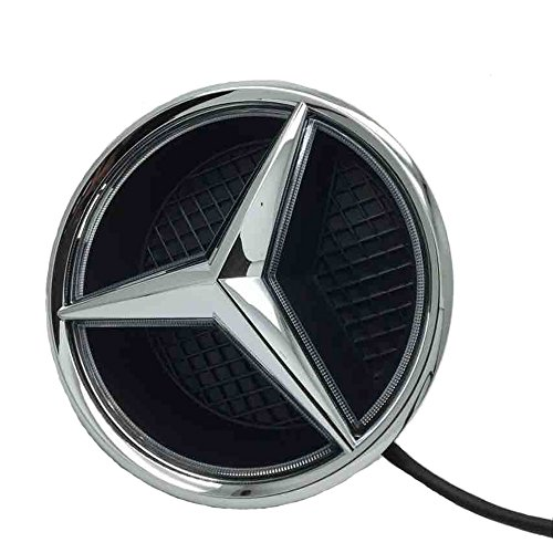 Cszlove Car Front Grilled Star Emblem LED Illuminated Logo for Mercedes Benz 2015-2017 GLC GLE GLS Center Front Badge Lamp Light - White Light