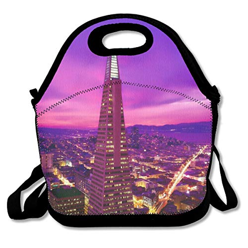 (ZYGCMYX San Francisco Transamerica Pyramid Night California City Graphic Lunch Boxes Tote Handbag Food Storage Fits for School Travel Work Outdoor )