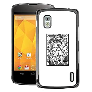 A-type Arte & diseño plástico duro Fundas Cover Cubre Hard Case Cover para LG Nexus 4 E960 (Pattern White Black Abstract)