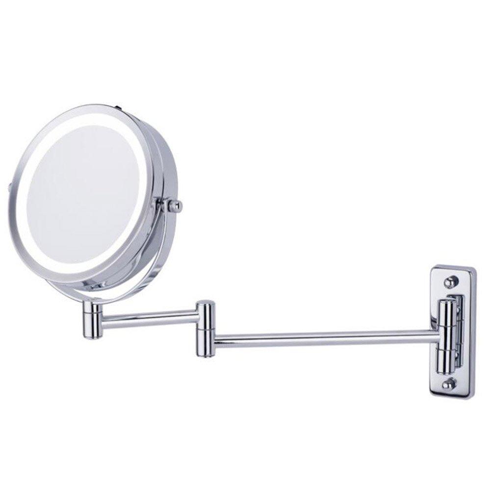 barato Espejo De Maquillaje Montado En En En La Pared Con Luz LED, Doble Cara Que Se Extiende Ronda Plegable Para Belleza Afeitado (Aumento De 5X)  Mercancía de alta calidad y servicio conveniente y honesto.