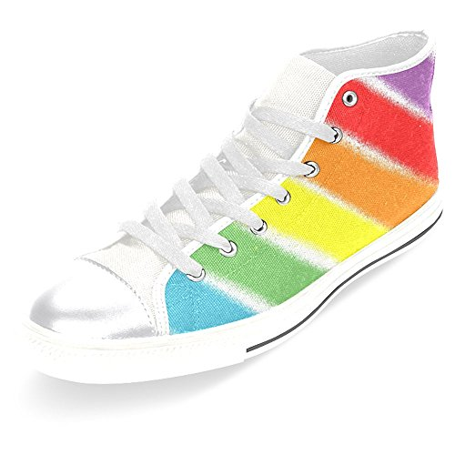 Interestprint Mujeres Zapatos De Lona Seis Colores Del Arco Iris High Top Trainers Zapatos Planos Lace Up Sneakers Fashion Form Six Rainbow Colors White