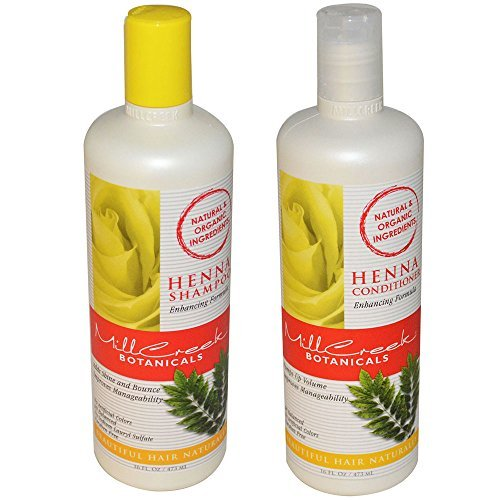 Mill Creek Botanicals Color Enhancing Henna Shampoo and Conditioner Natural Organic Bundle For Accenting Tones and Highlights With Panthenol, Keratin and Chamomile, 16 fl. oz. each Tone Color Enhancing Shampoo