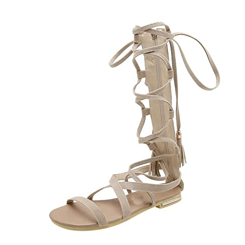 c3479643441c Retro Womens Long Design Slippers Anti-Slip Cross-Tied Flats Roman Style  Sandals
