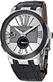 Ulysse Nardin Executive Dual Time Silver Dial Black Leather Automatic Mens Watch 243-00-421