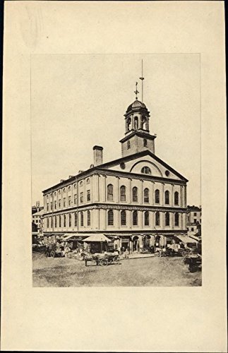 Faneuil Hall Boston Mass 1903 wonderful scarce antique street view gravure - Hall Faneuil Boston Mass