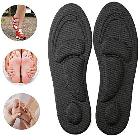 Volwco Orthopädische Einlegesohlen mit Bogenstütze, Unisex Plantarfasziitis Einlagen für Plattfuß, Plantarfasziitis, Fußschmerzen Linderung (Black (For Women))