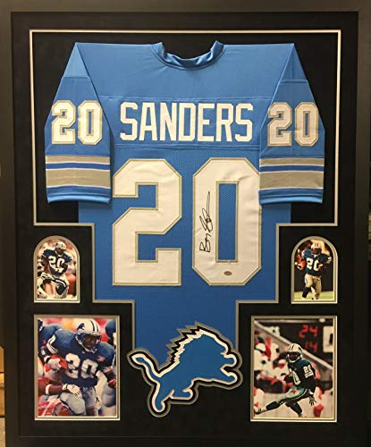 (Barry Sanders Detriot Lions Autograph Signed Custom Framed Jersey Suede Matted 4 Picture JSA Witnessed Certified)