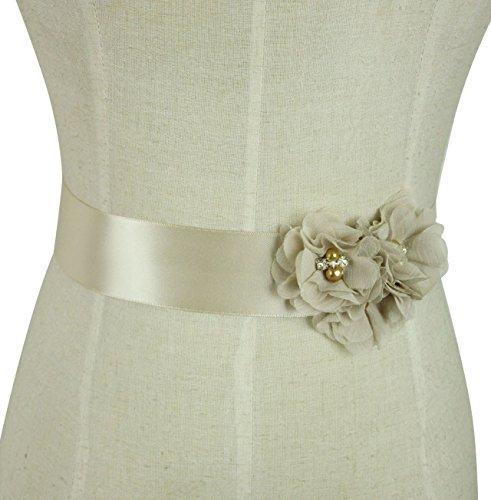 Lemandy Three Handmade Flowers Romantic Wedding Evening Dress Belts (Champagne) ()
