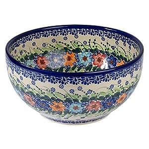 Traditional Polish Pottery, Handcrafted Ceramic Salad or Fruit Bowl 2.8l (d.24cm), Boleslawiec Style Pattern, M.705.Garland