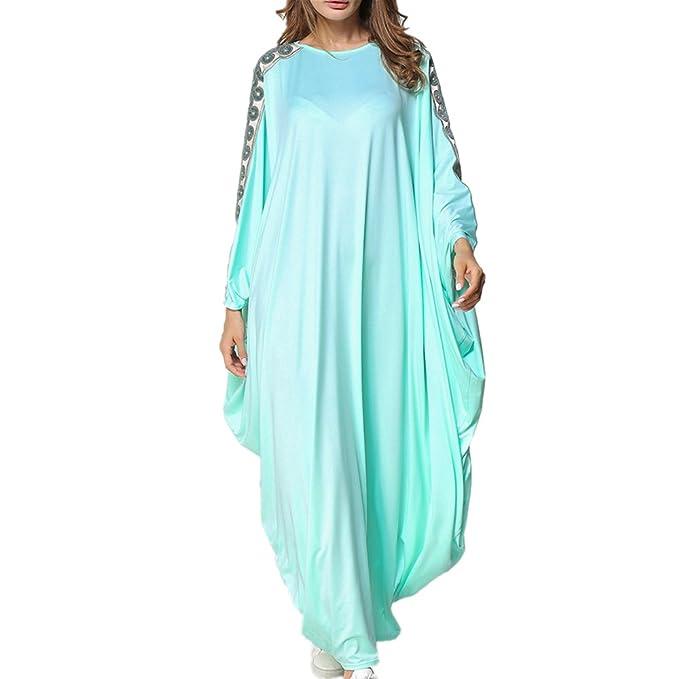 zhbotaolang Elegante Vestido árabe de Kaftan, Algodón Modestia Musulmán Jilbab Robe Un Tamaño,Azul