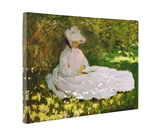 Niwo Art (TM) - Springtime, by Claude Monet - Oil painting Reproductions - Giclee Canvas Prints Wall Art for Home Decor, Stretched and Framed Ready to Hang