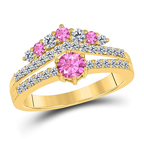 (DreamJewels 1.50 Ct Round Cut Created Pink Sapphire 14K Yellow Gold Finish Sterling Silver Multistone Crown Style Engagement Ring for Women's)