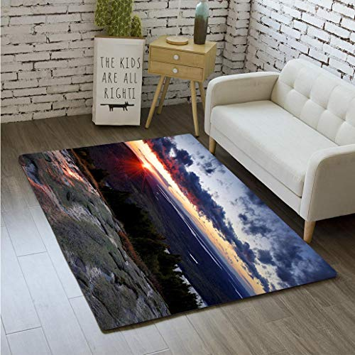 (MTSJTliangwan 3D Printing Sunrise View from Cadillac Mountain Acadia National Park Maine Bathroom Carpet Flannel Foam Shower mat Absorbent Living Room Kitchen Door Carpet Floor mat)
