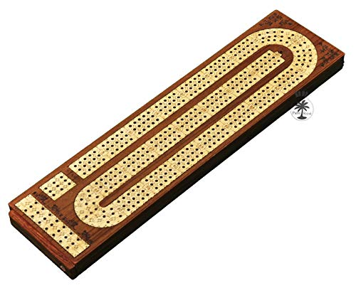 Palm Royal Handicrafts - 3 Track Continuous Cribbage - Three Track Cribbage - Flat Cribbage Board , Wood : Maple / Teak and Storage Available to Store pegs
