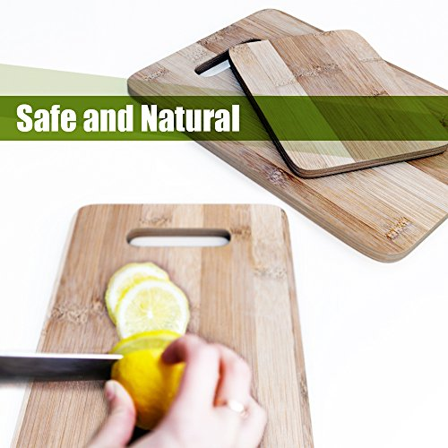 Bamboo Cutting Board 3 Piece Set, Made From Premium 100% Organic And Safe Antibacterial Wood, Newest Non-Stick Design, FDA Approved And BPA Free Kitchen Chopper Reversible Stand. Kitchen Basix by Kitchen Basix (Image #2)'