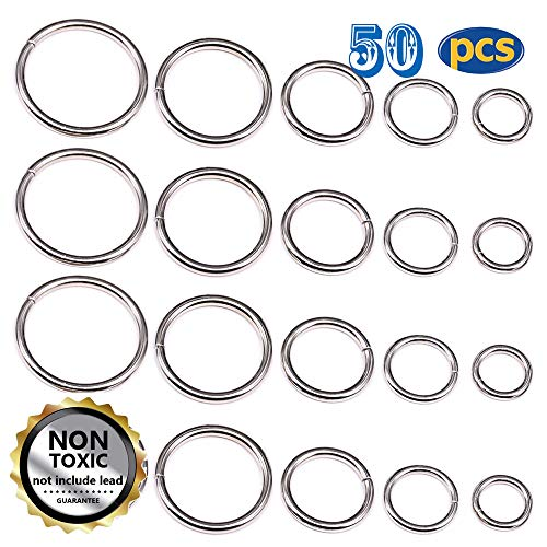 50 Pcs Sliver Assorted Multi-Purpose Metal O Ring for Hardware Bags Ring Hand DIY Accessories - 13mm, 15mm, 20mm, 25mm, 32mm (O - O-ring Metal