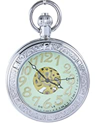 OGLE Waterproof Magnifier Skeleton Chain Silver Luminous Fob Self Winding Automatic Mechanical Pocket Watch (Silver...