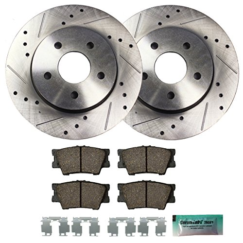(Detroit Axle - Drilled & Slotted Rear Brake Rotors & Brake Pads w/Clips Hardware Kit Performance GRADE for 2007-2012 Lexus ES350 - [2008-2012 Toyota Avalon] - 2007-2011 Toyota Camry)