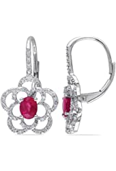 14k White Gold Ruby and Accent Diamond Earrings (0.2 Cttw, G-H Color, I1-I2 Clarity)