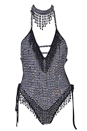 High-Fashion: Hand-Stitched Holographic Sequin Bodysuit w/Cascading Tassels & Matching Fringed Choker (Disco Princess, Large -