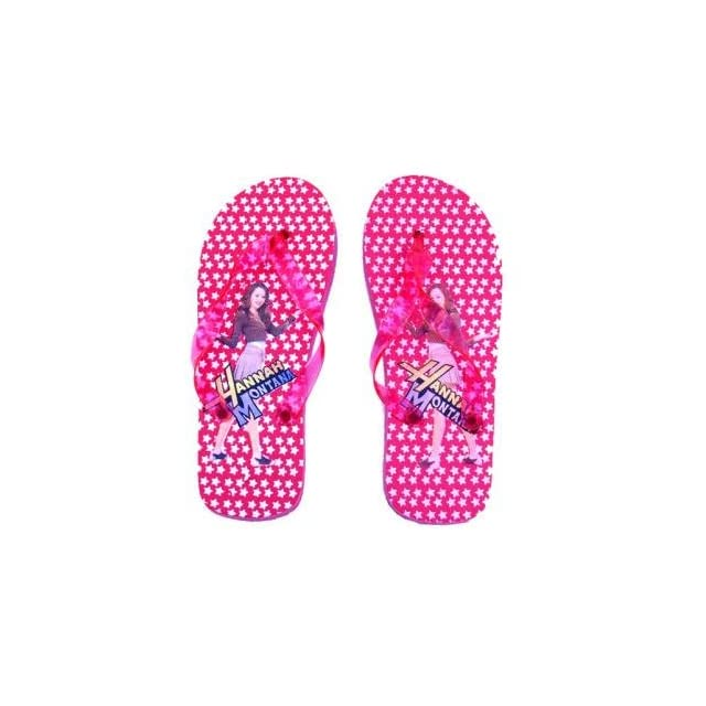 Red Hannah Montana Girls Flip Flop Slippers