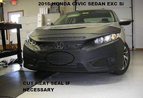 Lebra 2 Piece Front End Cover Black Fits Car Mask Bra 2016-2018 Honda Civic Coupe /& Sedan