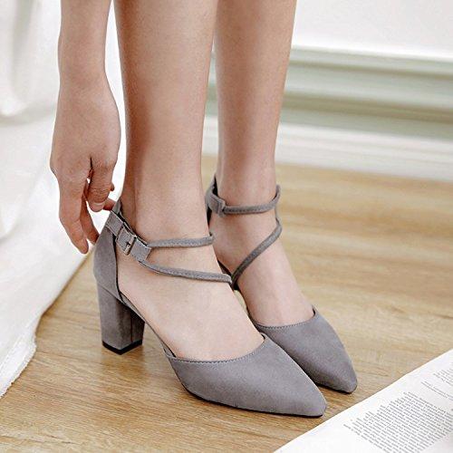 ZHUDJ Zapatos De Primavera Primavera Zapatos con Tacones Altos Roma Todos Crudo-Match Marea De Verano,Gris,37 Thirty-seven|gray