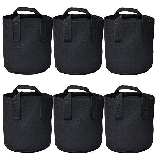 Garden 6-Pack 7 Gallon Grow Bags /Aeration Fabric Pots /Plant bag/Handles (Black) by Ming Wei