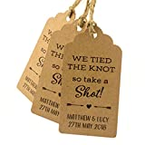 Summer-Ray 50pcs Personalized Mini Royale We Tied The Knot So Take A Shot Wedding Favor Gift Tags (Brown Kraft)