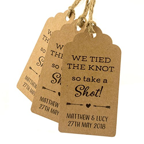 Summer-Ray 50pcs Brown Kraft Personalized Mini Royale We Tied The Knot So Take A Shot Wedding Favor Gift Tags by Summer-Ray.com