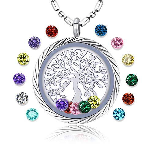 Family Tree of Life Floating Living Memory Locket Pendant Necklace with Birthstone, All Charms Included (Engraving-B01) -