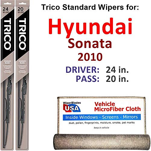 - Wiper Blades for 2010 Hyundai Sonata Driver & Passenger Trico Steel Wipers Set of 2 Bundled with Bonus MicroFiber Interior Car Cloth