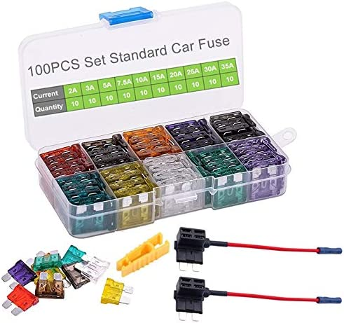2A 3A 5A 7.5A 10A 15A 20A 25A 30A 35A MuHize 120 PCS Mini ATM Assorted Blade Fuses + Add-a-circuit TAP Adapter Inline 16 AWG Gauge Holder