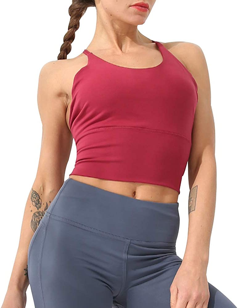 Hopgo Sports Bras for Women Longline Padded Strappy Yoga Shirt Gym Fitness Workout Crop Tops
