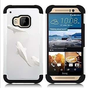 For HTC ONE M9 - fish minimalist paper pencil art Dual Layer caso de Shell HUELGA Impacto pata de cabra con im??genes gr??ficas Steam - Funny Shop -