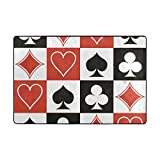 Ethel Ernest Non-slip Doormat Special Poker Card Hearts Square Clubs Area Rug Carpet Floor Mats Door Mat Indoor Outdoor Bathroom