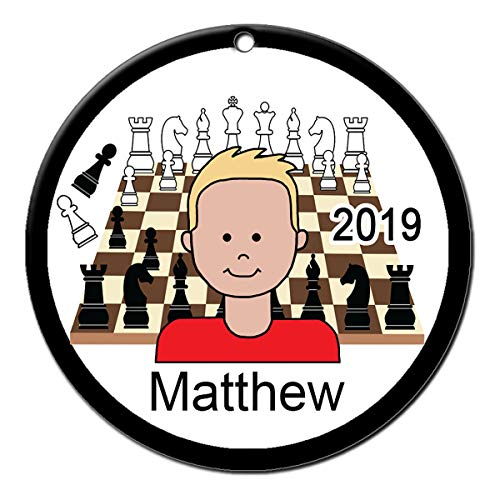 Chess Boy Personalized Christmas Ornament with Your Choice of Skin and Hair Color