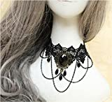Lucrative shop Fashion Gothic Choker Necklace Vintage Tattoo Tassel Punk Style Lace Pendant