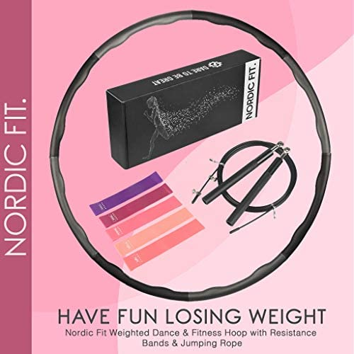 Nordic Fit Adjustable Weighted Dance & Fitness Professional Hula Hoop with Resistance Bands, Great for Burning Fat, Dancing, Exercise and Weight Loss - Start The Year with a New You, Transform 9