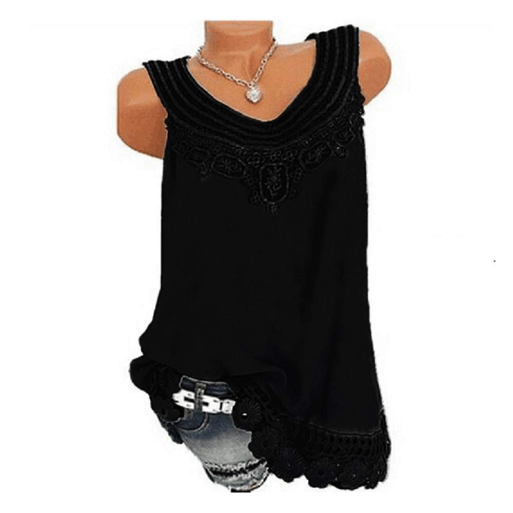 iYBUIA Women O-Neck Sleeveless Pure Color Lace Plus Size Vest Loose T-Shirt Blouse with Hollow Hem Black