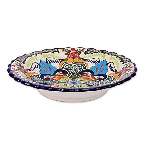 NOVICA TWE0229 Blue Teziutlan' Talavera Ceramic Serving - Novica Plate Ceramic